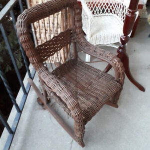 Child doll wicker chair and rocking chair