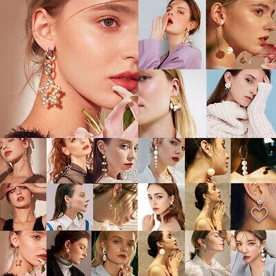 Fashion Luxury Crystal Earrings Women Pearl Geometric Boho Dangle Hoop Jewelry
