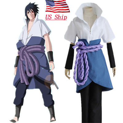 US Anime Naruto Uchiha Sasuke Cosplay Costume Halloween Clothes Outfit Full Set