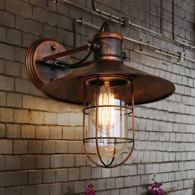 Antique Retro Copper Wall Light Vintage Rustic LED Wall Sconce Fixture Outdoor