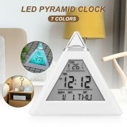 Triangle colorful LED backlight alarm clock time day date temperature display