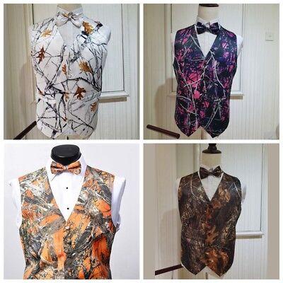 Men/Kids Camo Tuxedo Mossy Oak Wedding Vests Camouflage Vests with free Bowtie  - Camo Tux