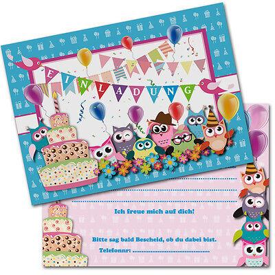 Eule Karten (tolle Einladungskarten Kindergeburtstag * Eulen * A6 - Rückseite beschreibbar)