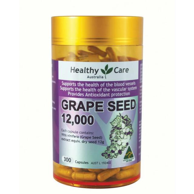 Healthy Care Grapeseed Extract 12000 Gold Jar 300 Capsules - OzHealthExperts
