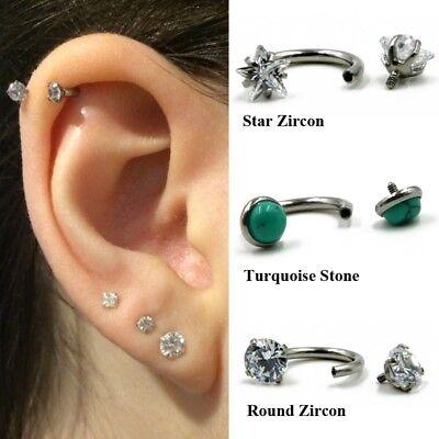 Circular Barbell Horseshoe Piercing Septum Lip Ear Cartilage Tragus Earrings 16g (Barbell Ear Piercing)
