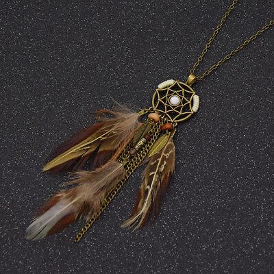 Boho Dream Catcher Feather Pendant Chain Necklace Women Jewelry Vintage -