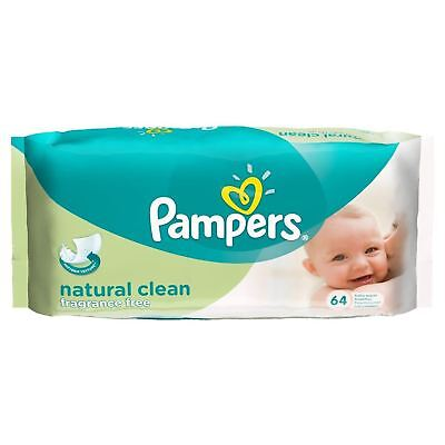Pampers Natural Clean Fragrance Free Baby Wipes - 64 Wipes 1 2 3 6 12 Packs