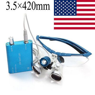 Surgical Binocular Loupes 3.5x 420mm Optical Glassled Head Lamp Light Bright Us