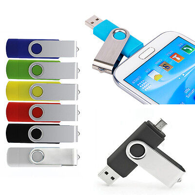 2 in 1 Micro USB 2.0 Pen Drive Memory Stick Per OTG PC Android Smartphone