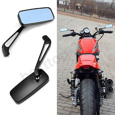 Black 8mm 10mm Motorcycle Mirrors For Chopper Cruiser Bobber Cafe Racer Scooter