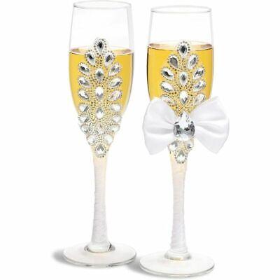 Bride and Groom Rhinestone Champagne Flutes, Wedding Toasting Glasses Gift Set