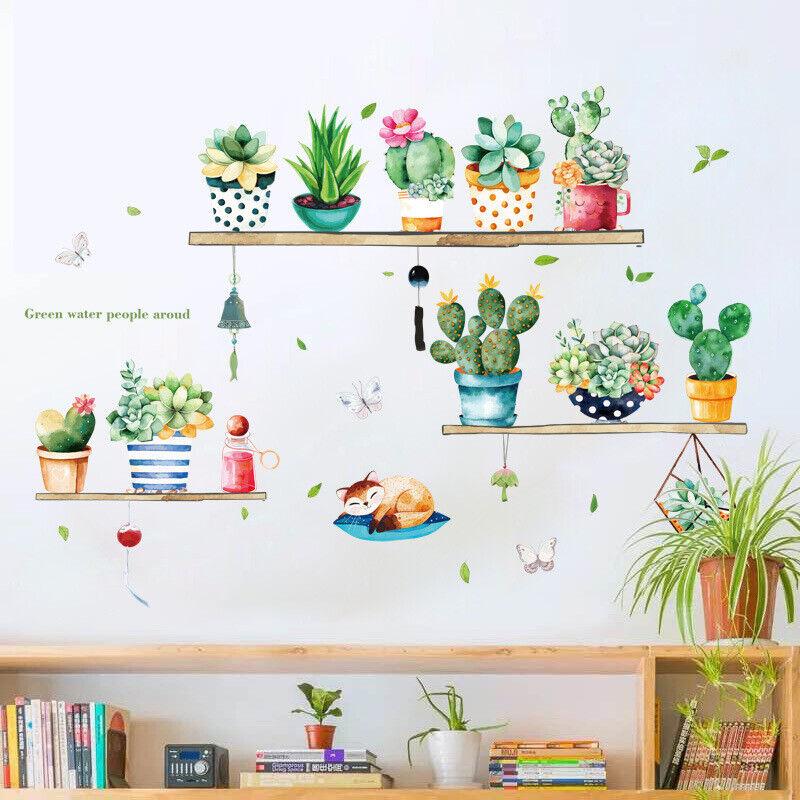 Home Decoration - Removable Wall Stickers Succulents Cactus Cacti Pots Plants Cat Home Decor DIY