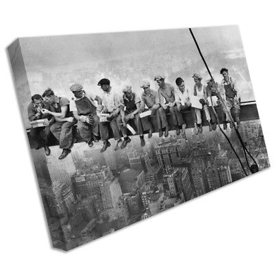 Large Men On Girder Lunch Iconic New York Skyline Canvas Picture Print Wall Art