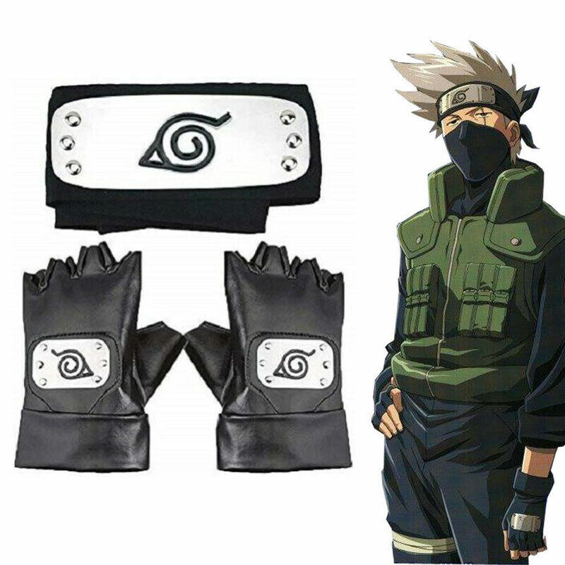 US Naruto Hatake Kakashi Headband Leaf Village Headband and Cosplay Gloves Ninja