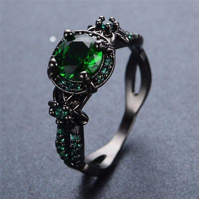 US Vintage Round Cut Green Emerald Flower Wedding Ring Black Gold Gift Size (Gold Round Cut Flower)