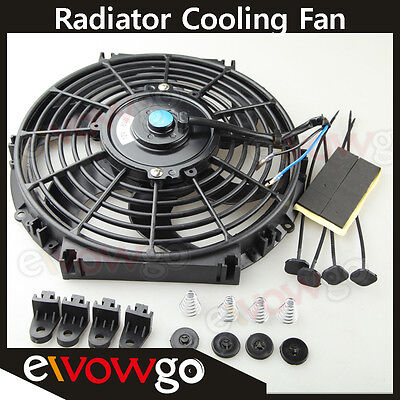 Universal 10 Radiator Electric Cooling Fan Curved S Blade Reversible Muscle Car