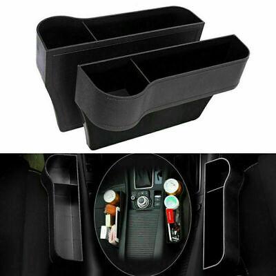 2PCS Black Car Seat Gap Catcher Organizer Storage Box Pocket w/ Cup Holder Side