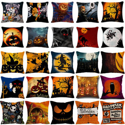Witch Castle Linen Throw Pillow Case Waist Cushion Cover Halloween Sofa Decor - Halloween Witch Castle