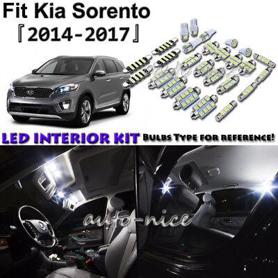 9x White LED Interior Lights Package Kit For 2014 2015 2016 2017 Kia -