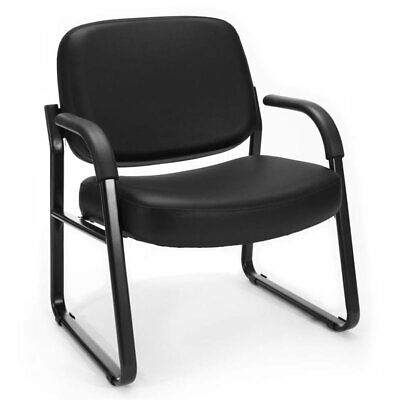 OFM Big and Tall Faux Leather Guest Reception Arm Chair in Black (Ofm Guest Reception)