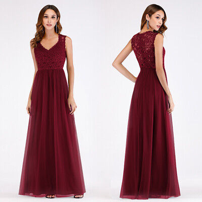 Ever-Pretty US Long Lace Burgundy Cocktail Party Dresses Bridesmaid Wedding Prom Burgundy Bridesmaids Prom Gown