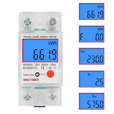 Digital Lcd Kwh Wattmeter Power Consumption Energy Meter Electric Din Rail 230v