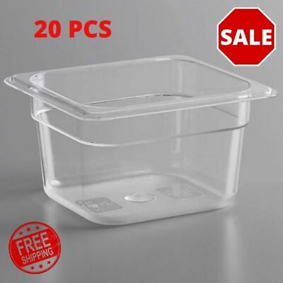 20 Pack 16 Size Clear Polycarbonate Food Pans Solid Rectangle 4 Inch Deep
