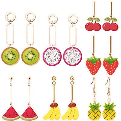 1 Pair Fruit Kiwi Banana Cherry Drop Dangle Earrings Women Jewelry Gift