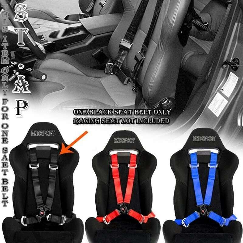 """PAIR 4-POINT 2/"""" WIDE STRAP CAMLOCK DRIFT RACING SAFETY SEAT BELT HARNESS GREEN"""