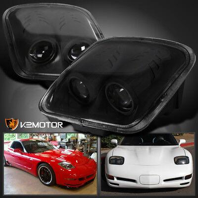 Black 1997-2004 Chevy Corvette C5 Projector Headlights Head Lamps Left & Right 02 03 04 Chevy Corvette