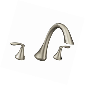 Moen Eva Two Handle High Arc Bathroom Roman Tub Faucet Brushed