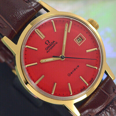 VINTAGE OMEGA Geneve AUTOMATIC CAL.1481 DATE RED DIAL ANALOG DRESS MEN