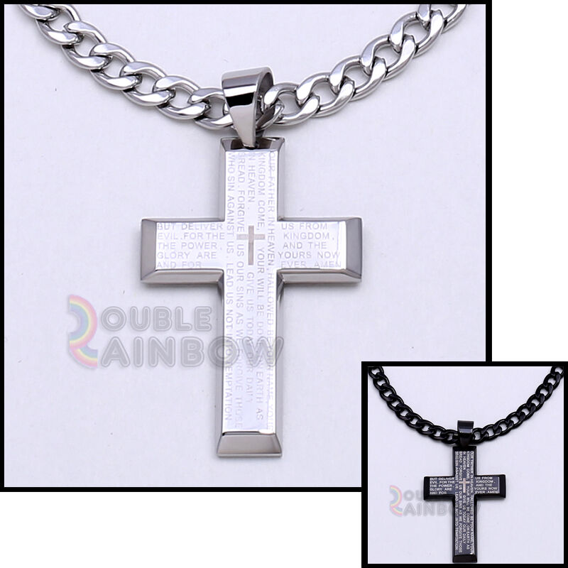 Jewellery - Men's Gold Black Silver Stainless Steel Lord Prayer Cross Pendant Necklace Chain