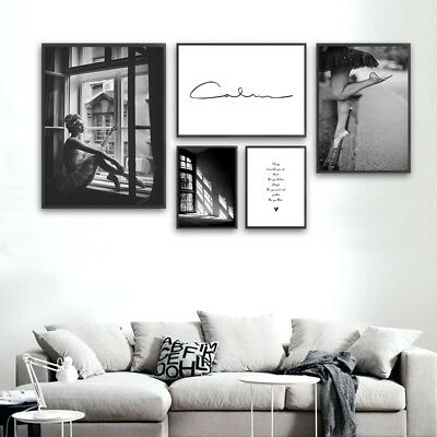 Black White Canvas Poster Fashion Abstract Wall Art Print Girls Room Decoration