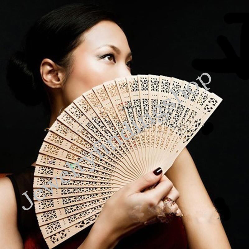 Vintage Folding Bamboo Original Wooden Carved Wedding Bridal Party Hand Fan 1pc