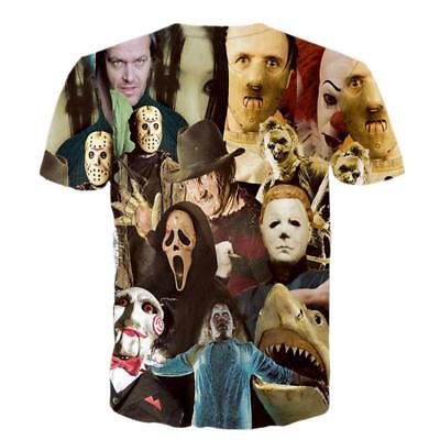 Unisex 3D Print Halloween T Shirts Horror Movie Character Casual Top O Neck Tees