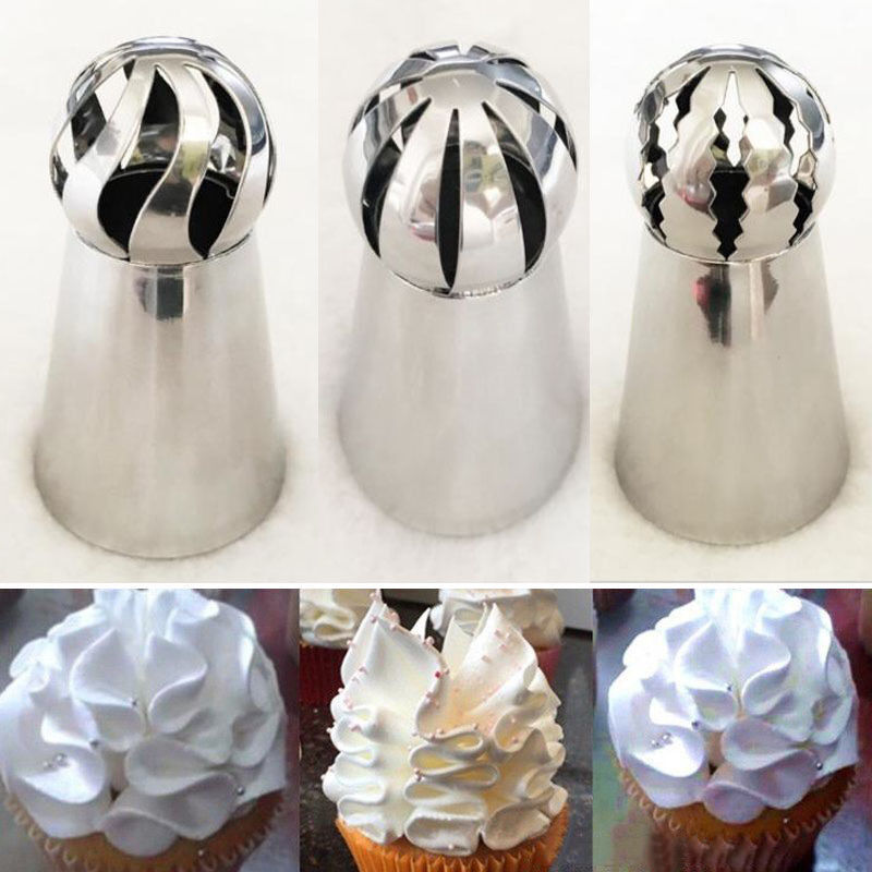 New 3pcs Set Sphere Ball Tips Russian Icing Piping