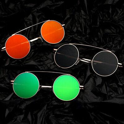 Small Circle Round Mirrored Sunglasses Retro Vintage Fashion Flat Top Metal (Round Metal Bar)
