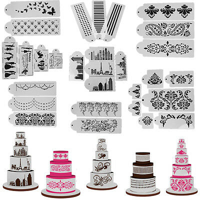 (Lace Flower Cake Stencil Template Pastry Fondant Decorating Side Mold Bake Tool)
