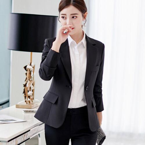 Women Solid Fit Long Sleeve Blazer Suit Coat Work Jacket Formal Business Outwear