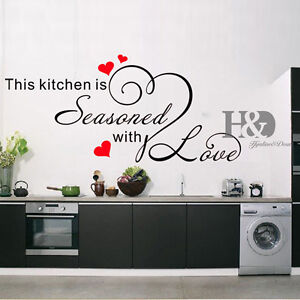 Wall art stickers decals quote kitchen heart home dining for Ebay dining room wall art