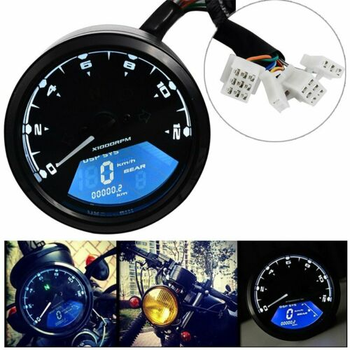 DE Motorrad Tacho Kilometerzähler Tachometer LED Kontrollleuchten Universal NEU