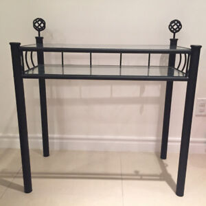 Brushed Black Metal Glass Side End Table