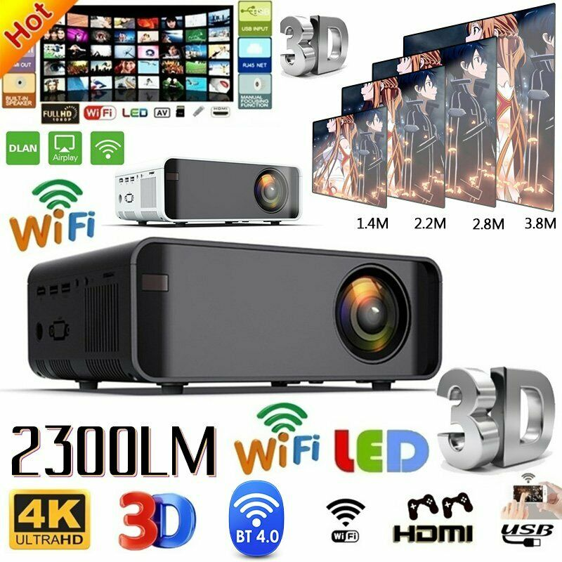 23000LM LED Smart Home Theater Projector 4K Wifi BT 1080p HD 3D Home Video USA