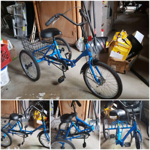 A 24  inch  folding 1 speed adult tricycle
