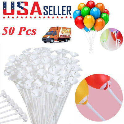Decoration For 50 Birthday (US 50Pcs 32cm Plastic Balloon Sticks Holders and Cups for Birthday Party)