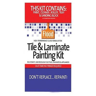 Tile Paint Kit (FLOOD TILE & LAMINATE PAINT KIT LIGHT BASE KITCHEN BATHROOM LAUNDRY RENOVATE WOW)