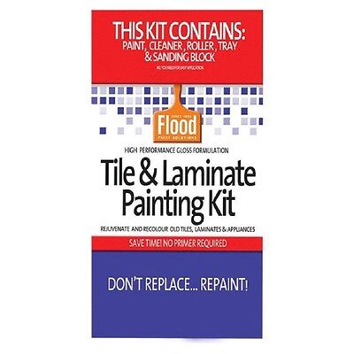 Tile Paint Kit (FLOOD TILE & LAMINATE PAINT KIT DEEP BASE KITCHEN BATHROOM LAUNDRY RENOVATE WOW)