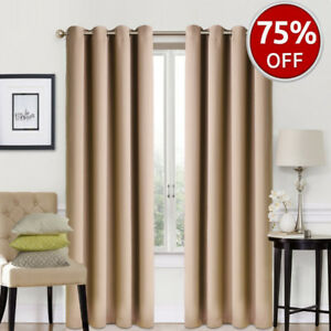 Blackout Window Curtains - 2 Panel Set (Camel) Like New 52 x 84