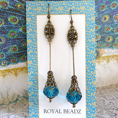 (Peacock Blue Teal Crystal Victorian BoHo Vintage Style Flower Long Drop Earrings)
